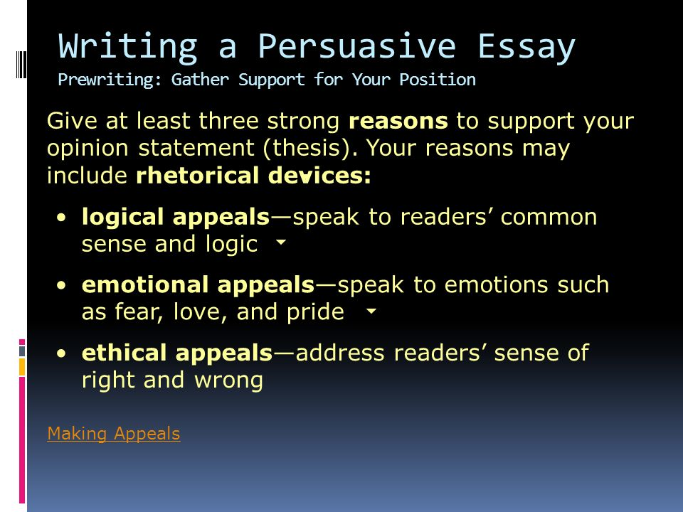 reasons for writing a persuasive essay Persuade me, please reading a persuasive essay and resource as a guide to begin the writing process of persuasive essays and logical reasons for.