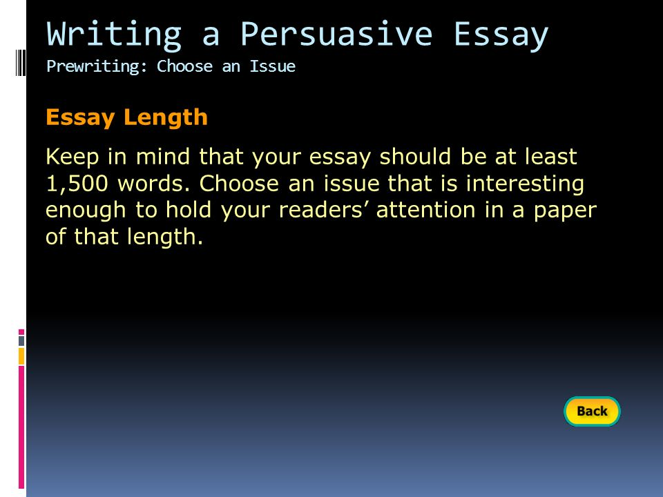 essay lentgh Essay length discussion in 'pre-dental' started by demonicr, may 26, 2004 how long are some of your essays are i've read samples ranges anywhere from 450 -1000+ words, i just don't want to.