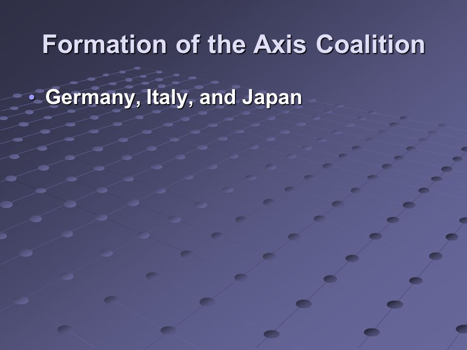 Formation of the Axis Coalition Germany, Italy, and Japan Germany, Italy, and Japan