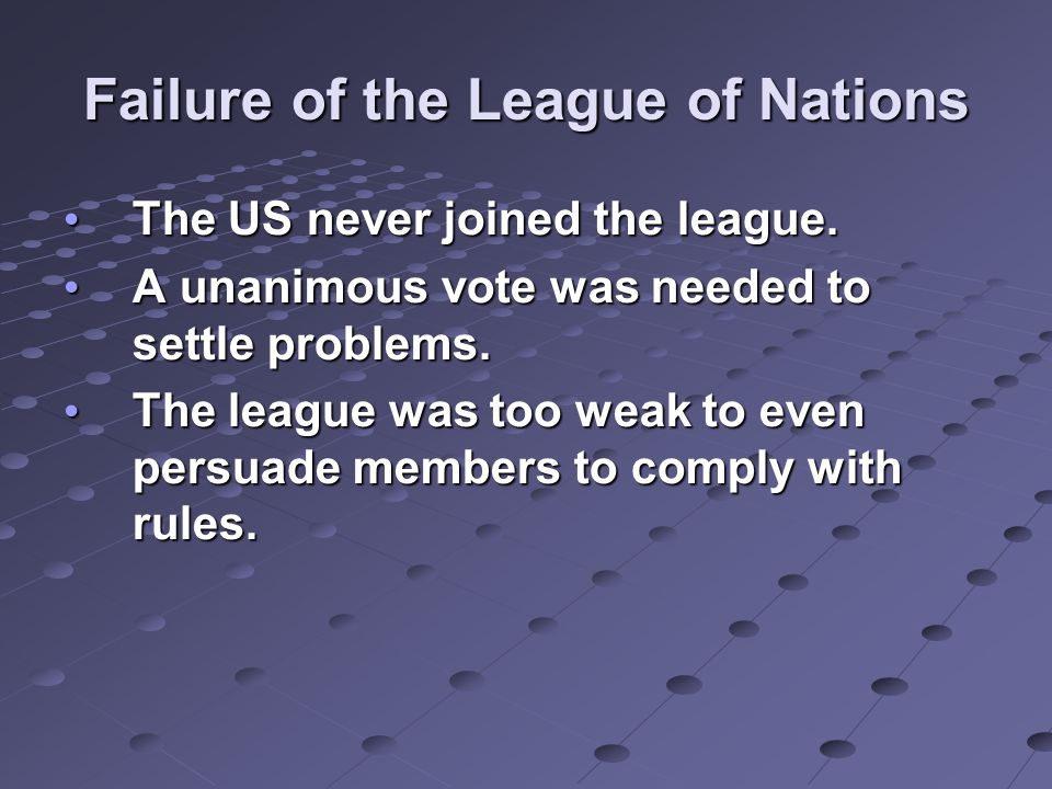 Failure of the League of Nations The US never joined the league.