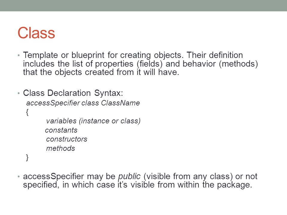 Cop intermediate java designing classes class template or class template or blueprint for creating objects malvernweather Images
