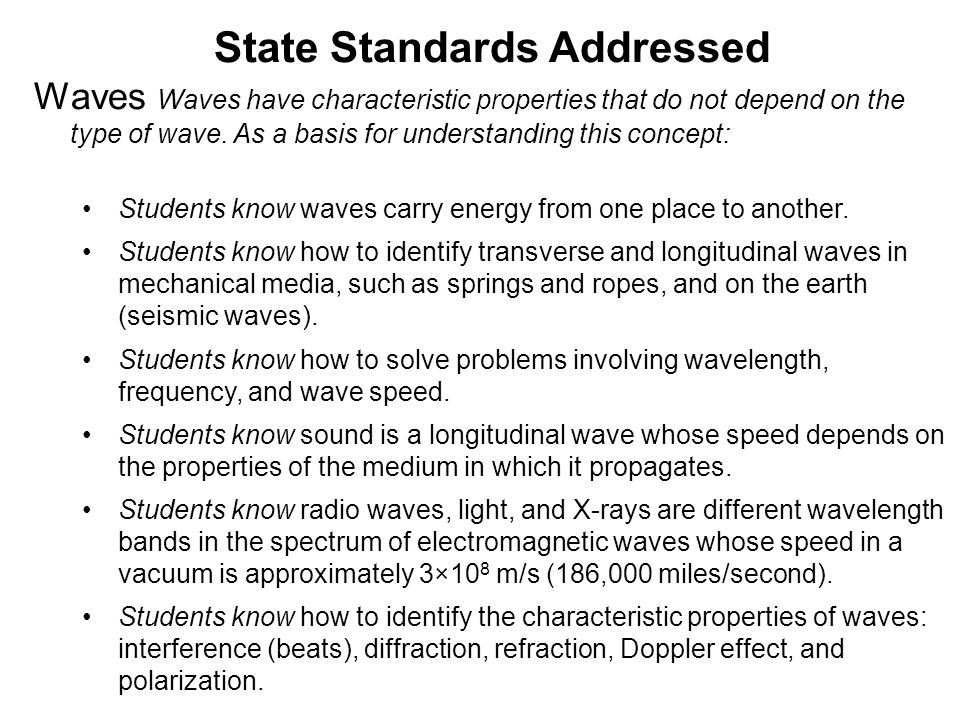 State Standards Addressed Waves Waves have characteristic properties that do not depend on the type of wave.