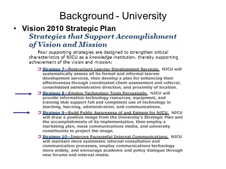 Background - University Vision 2010 Strategic Plan