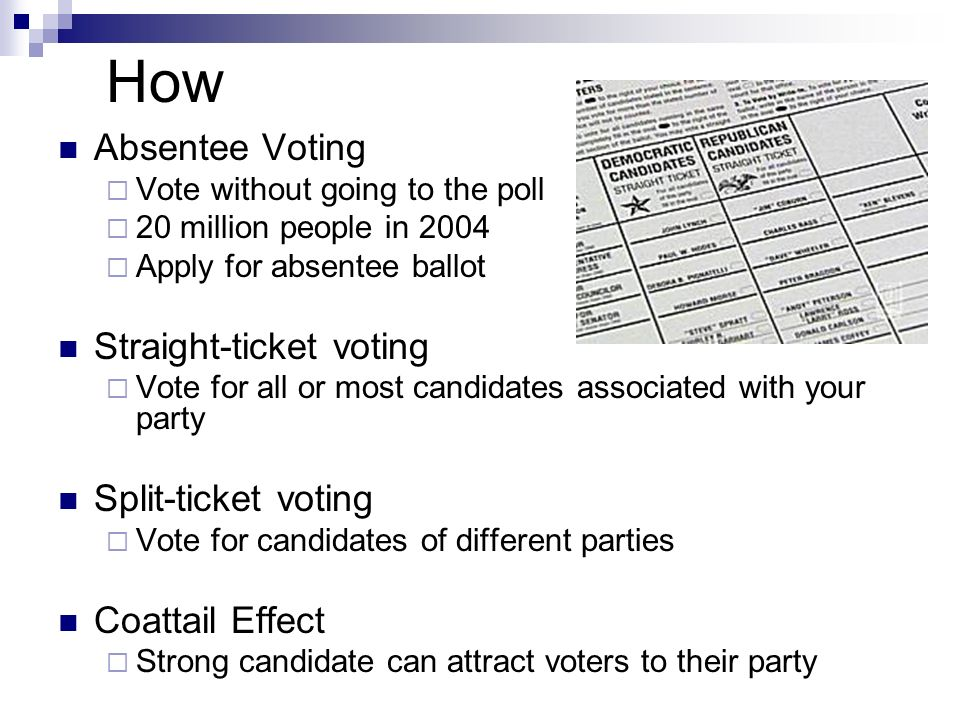 How Absentee Voting  Vote without going to the poll  20 million people in 2004  Apply for absentee ballot Straight-ticket voting  Vote for all or most candidates associated with your party Split-ticket voting  Vote for candidates of different parties Coattail Effect  Strong candidate can attract voters to their party