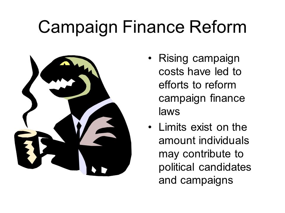 Rising Campaign Costs (cont.) Give issue-oriented special interests groups increased influence Limits opportunities to run for public office