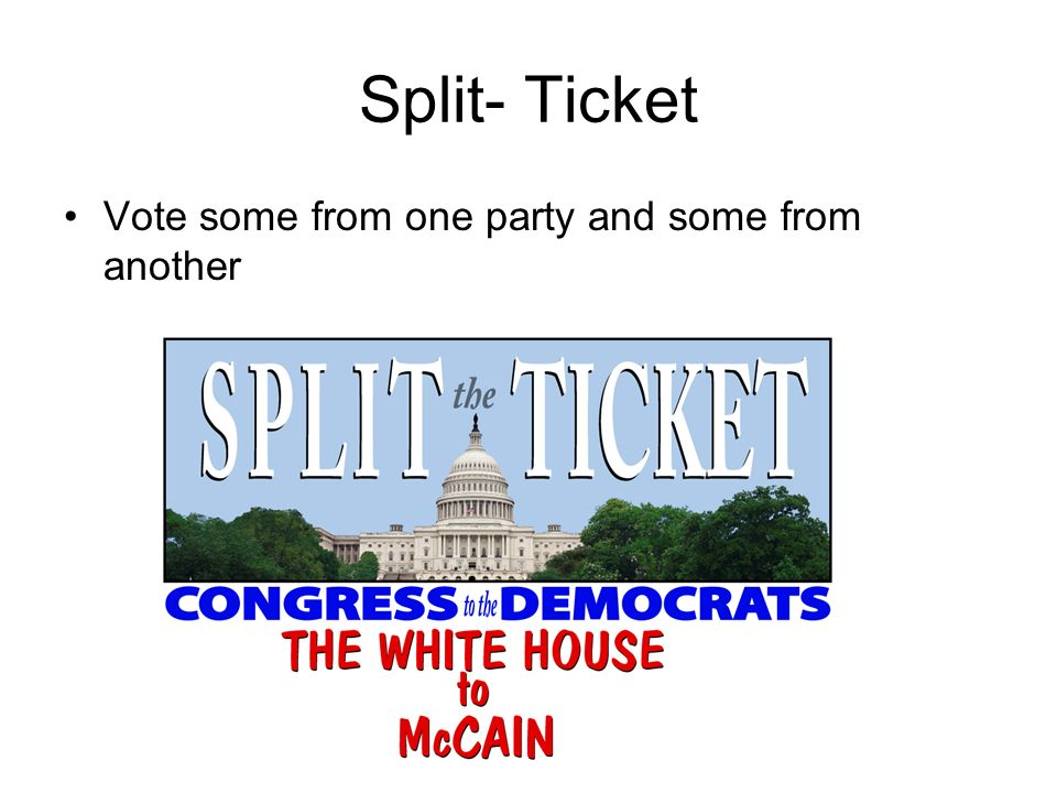 Split- Ticket Vote some from one party and some from another
