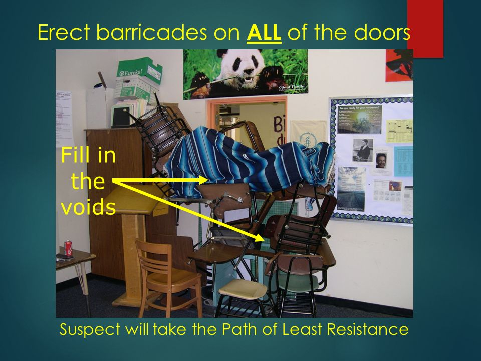 Erect barricades on ALL of the doors Fill in the voids Suspect will take the Path of Least Resistance