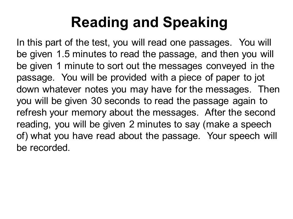 Worksheets Read The Passage reading and speaking in this part of the test you will read one passages