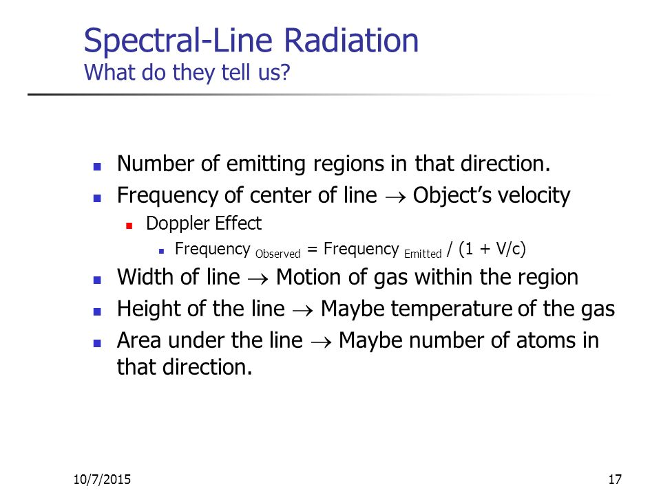 10/7/201517 Spectral-Line Radiation What do they tell us.