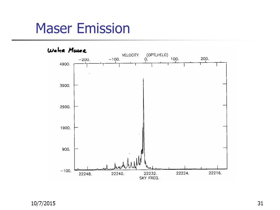 10/7/201531 Maser Emission