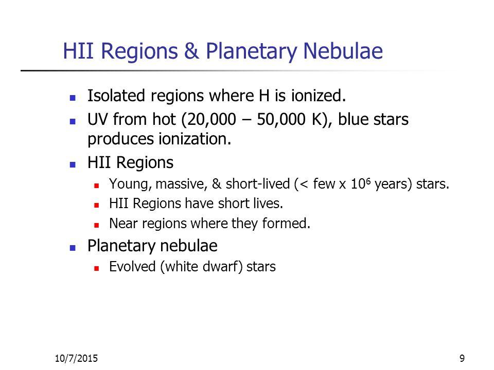 10/7/20159 HII Regions & Planetary Nebulae Isolated regions where H is ionized.