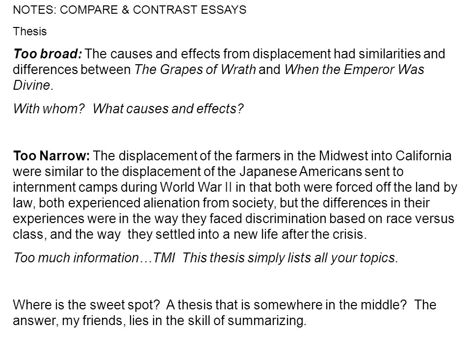 notes compare contrast essays vocabulary compare use examples notes compare contrast essays thesis too broad the causes and effects from displacement
