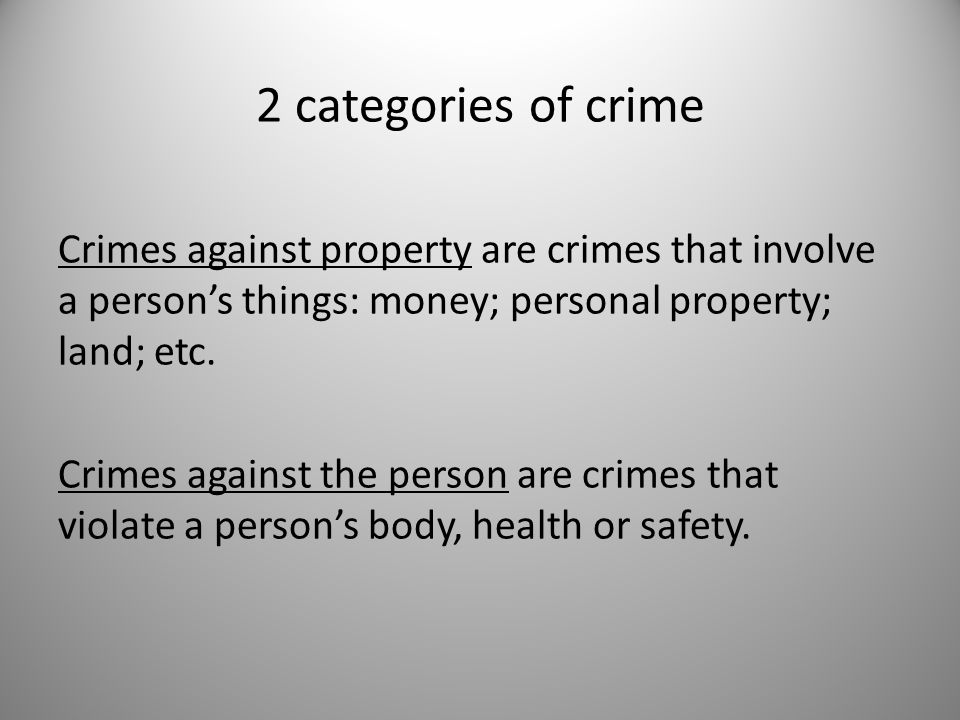 categories of crime crimes Get an answer for 'what are the four main categories of computer crimes and what is an example of each one' and find homework help for.