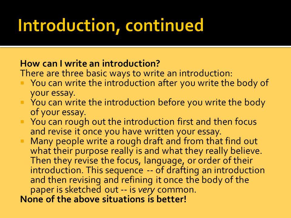 How do I write an Introduction?