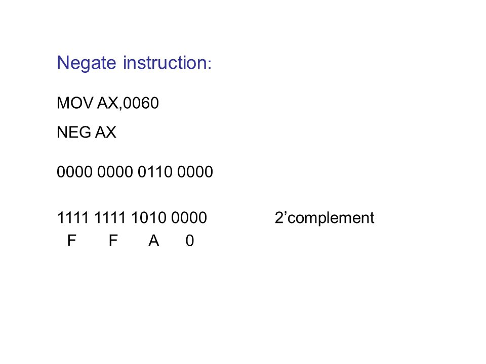 Negate instruction : MOV AX,0060 NEG AX 'complement F F A 0