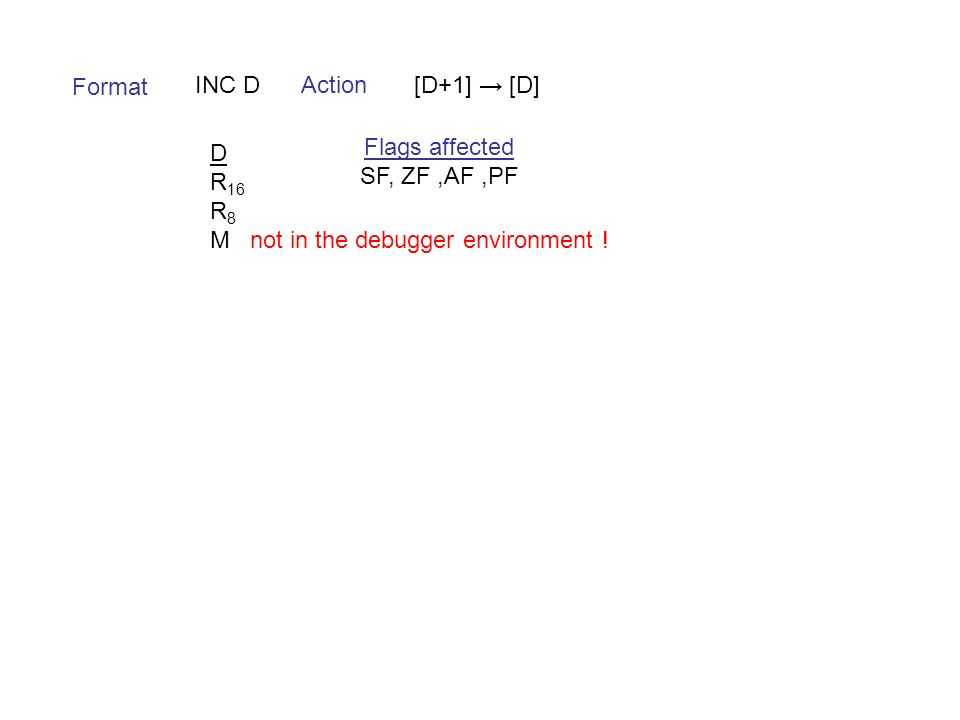 Format INC DAction[D+1] → [D] D R 16 R 8 M not in the debugger environment .