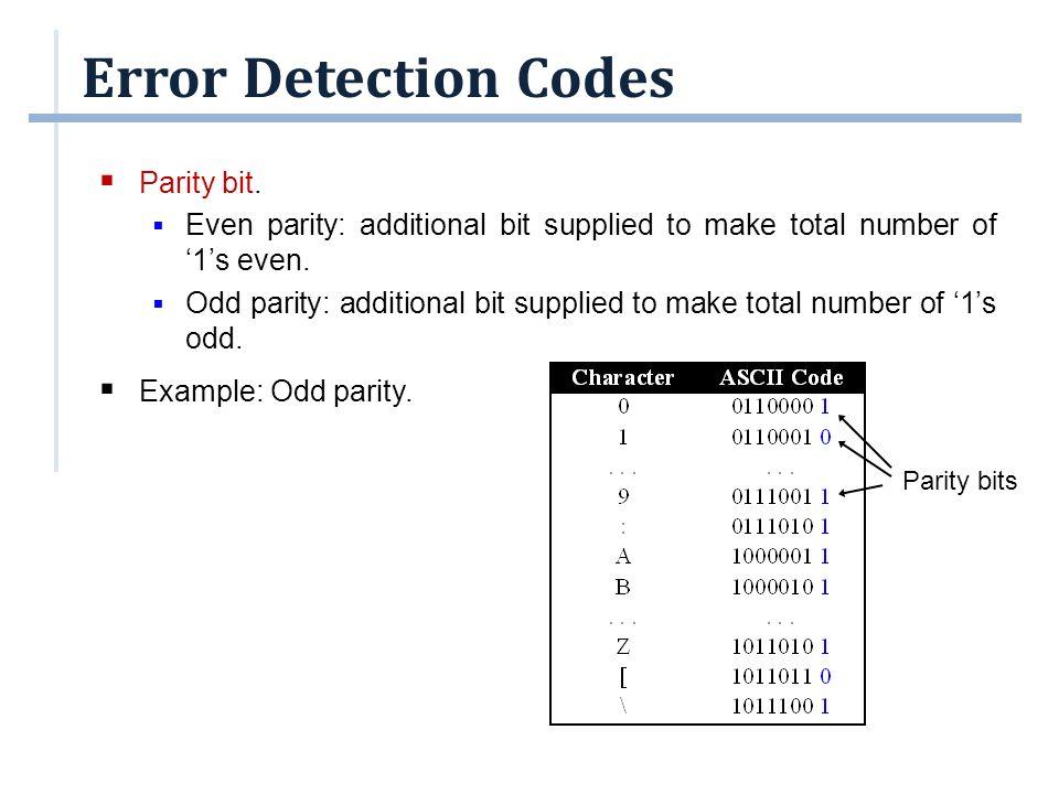 Error Detection Codes  Parity bit can detect odd number of errors but not even number of errors.