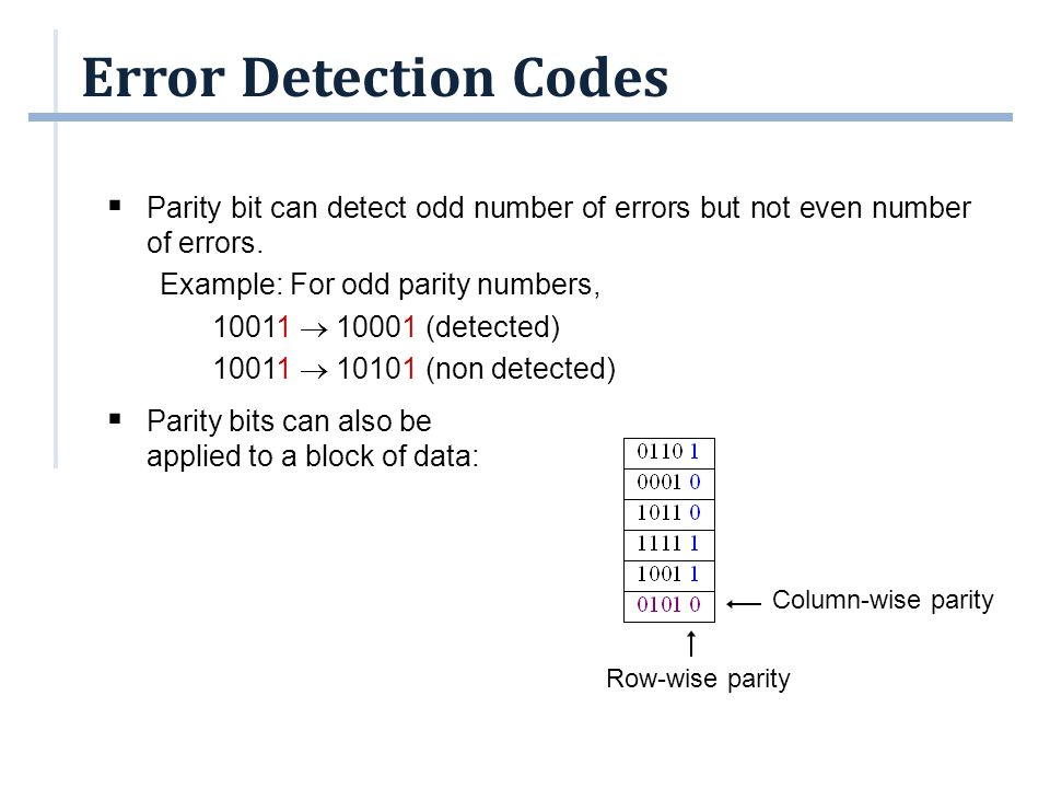 Error Detection Codes  Sometimes, it is not enough to do error detection.