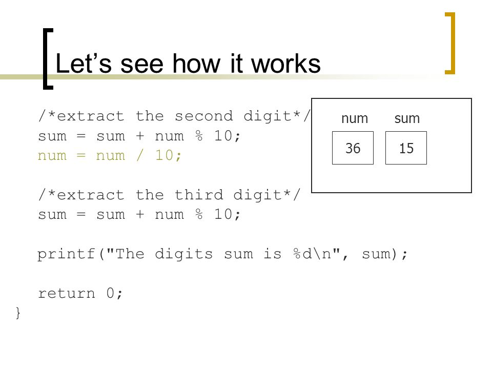 Let's see how it works /*extract the second digit*/ sum = sum + num % 10; num = num / 10; /*extract the third digit*/ sum = sum + num % 10; printf( The digits sum is %d\n , sum); return 0; } 36 numsum 15