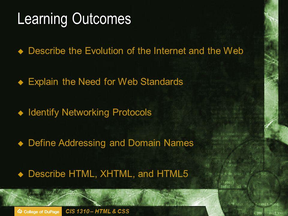 CIS 1310 – HTML & CSS Markup Languages History