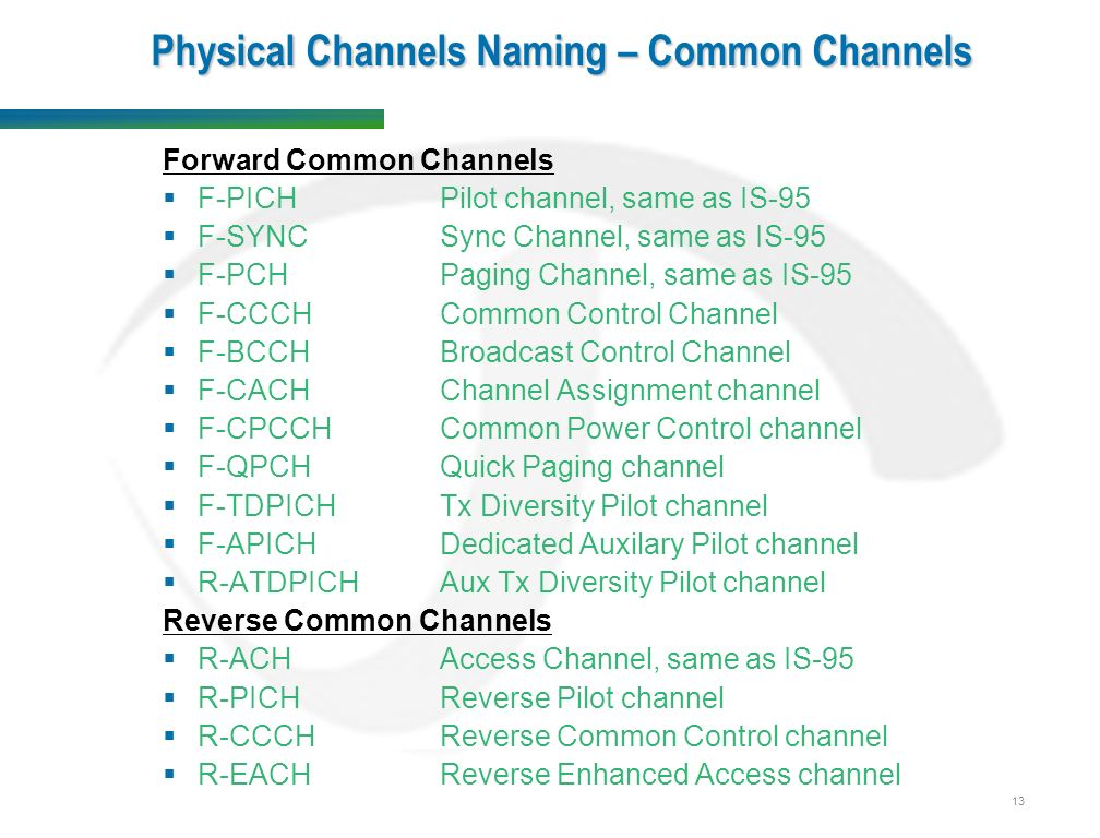 13 Physical Channels Naming – Common Channels Forward Common Channels  F-PICHPilot channel, same as IS-95  F-SYNCSync Channel, same as IS-95  F-PCHPaging Channel, same as IS-95  F-CCCHCommon Control Channel  F-BCCHBroadcast Control Channel  F-CACHChannel Assignment channel  F-CPCCH Common Power Control channel  F-QPCH Quick Paging channel  F-TDPICH Tx Diversity Pilot channel  F-APICH Dedicated Auxilary Pilot channel  R-ATDPICH Aux Tx Diversity Pilot channel Reverse Common Channels  R-ACHAccess Channel, same as IS-95  R-PICHReverse Pilot channel  R-CCCHReverse Common Control channel  R-EACHReverse Enhanced Access channel