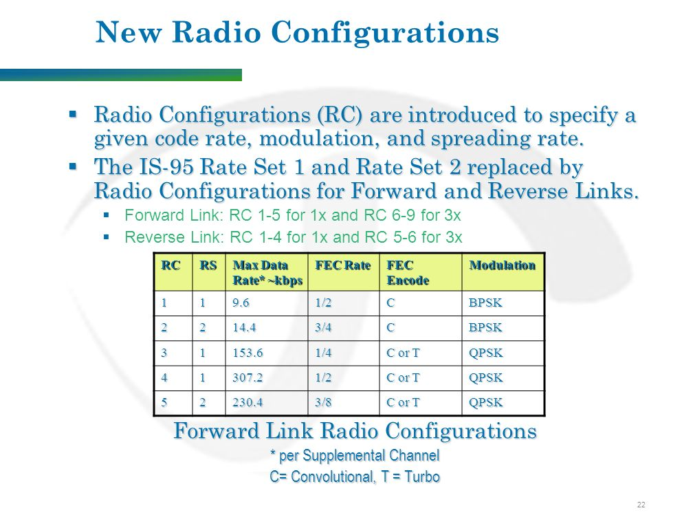 22 New Radio Configurations  Radio Configurations (RC) are introduced to specify a given code rate, modulation, and spreading rate.
