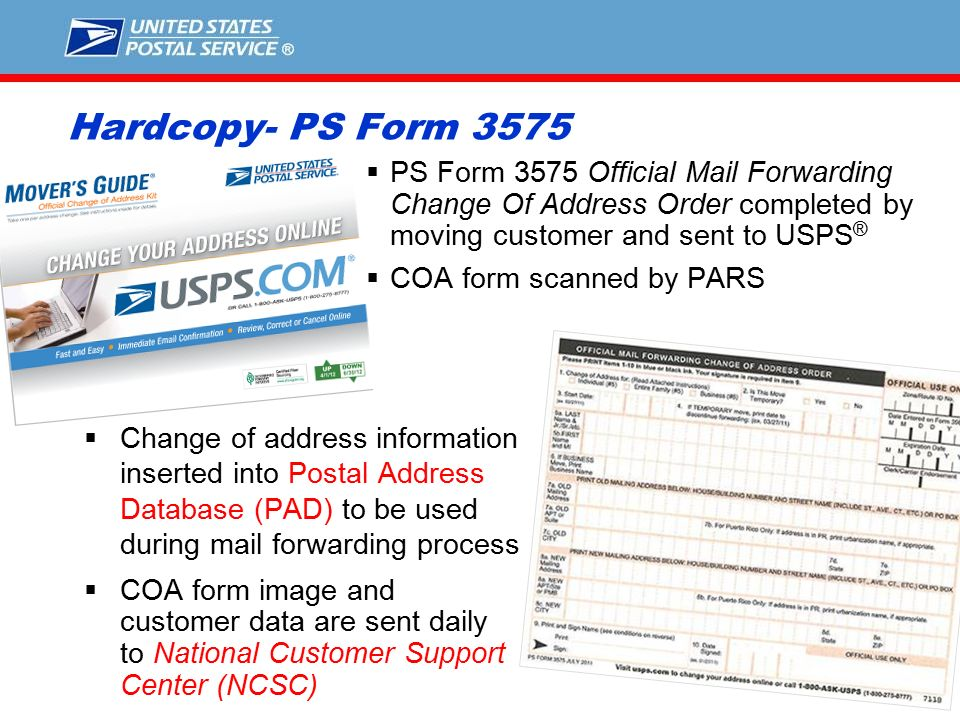 1 Understanding How The ChangeofAddress Process Works National – Official Change of Address Form