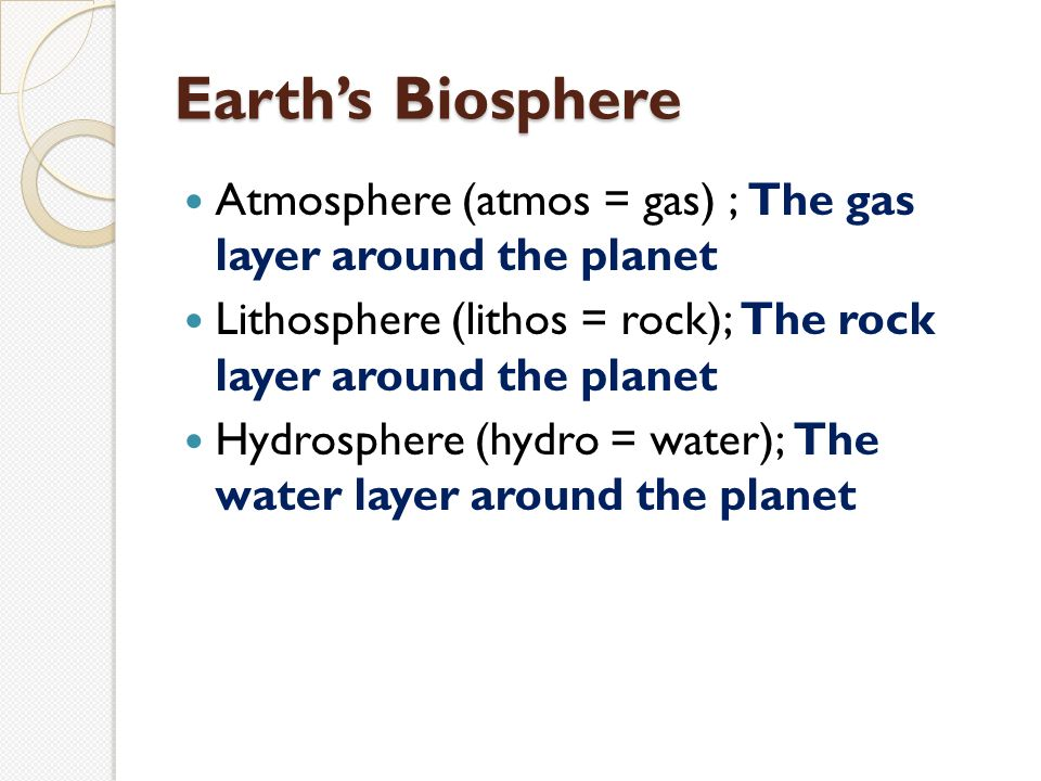 Earth's Biosphere Atmosphere (atmos = gas) ; The gas layer around the planet Lithosphere (lithos = rock); The rock layer around the planet Hydrosphere (hydro = water); The water layer around the planet