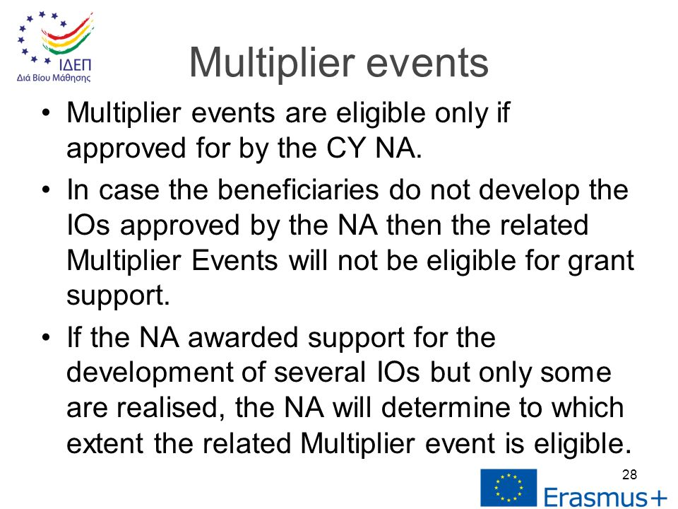 Multiplier events are eligible only if approved for by the CY NA.