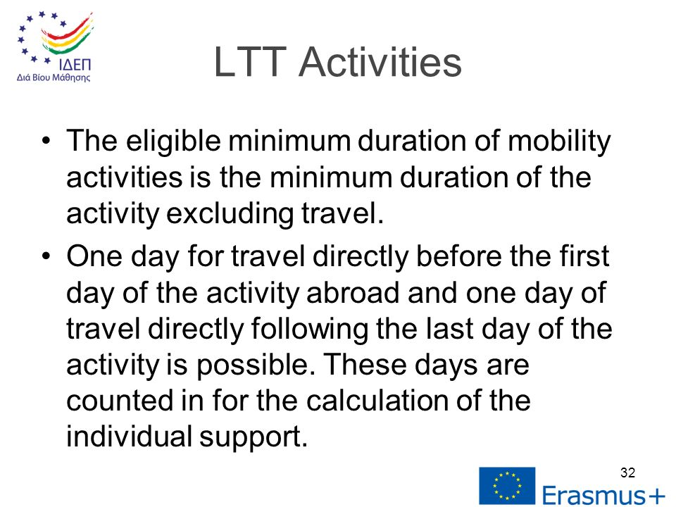 The eligible minimum duration of mobility activities is the minimum duration of the activity excluding travel.