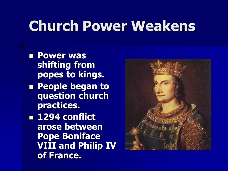 Church Power Weakens Power was shifting from popes to kings.