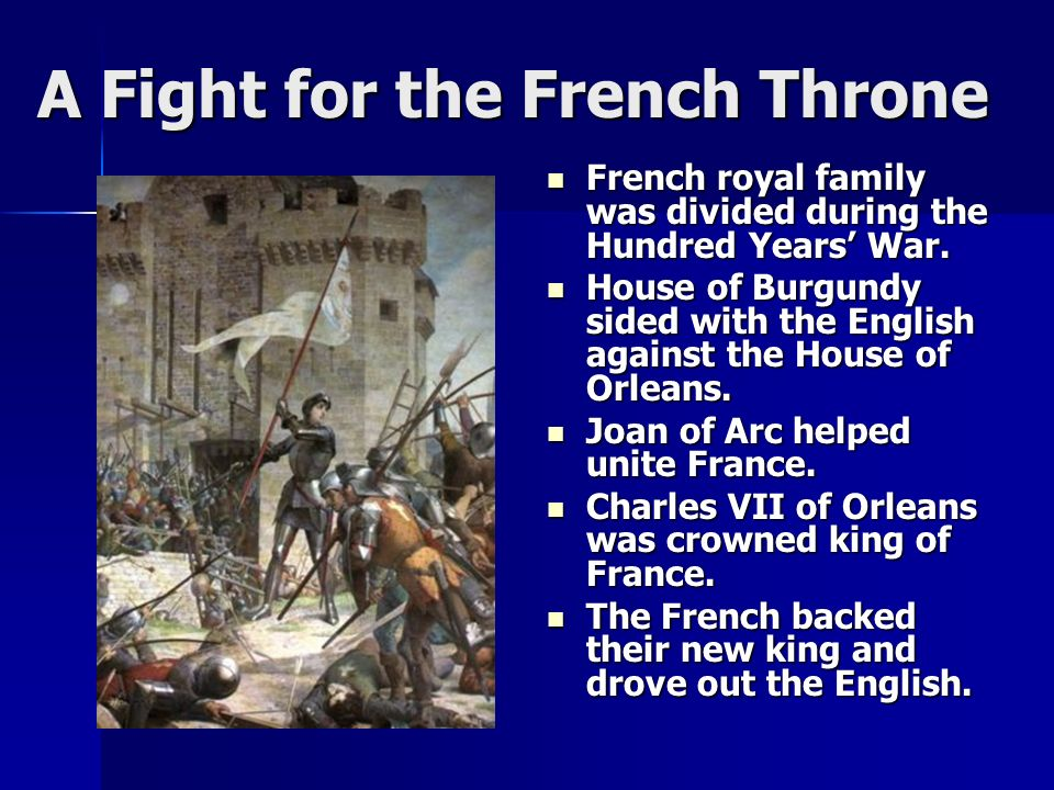 A Fight for the French Throne French royal family was divided during the Hundred Years' War.