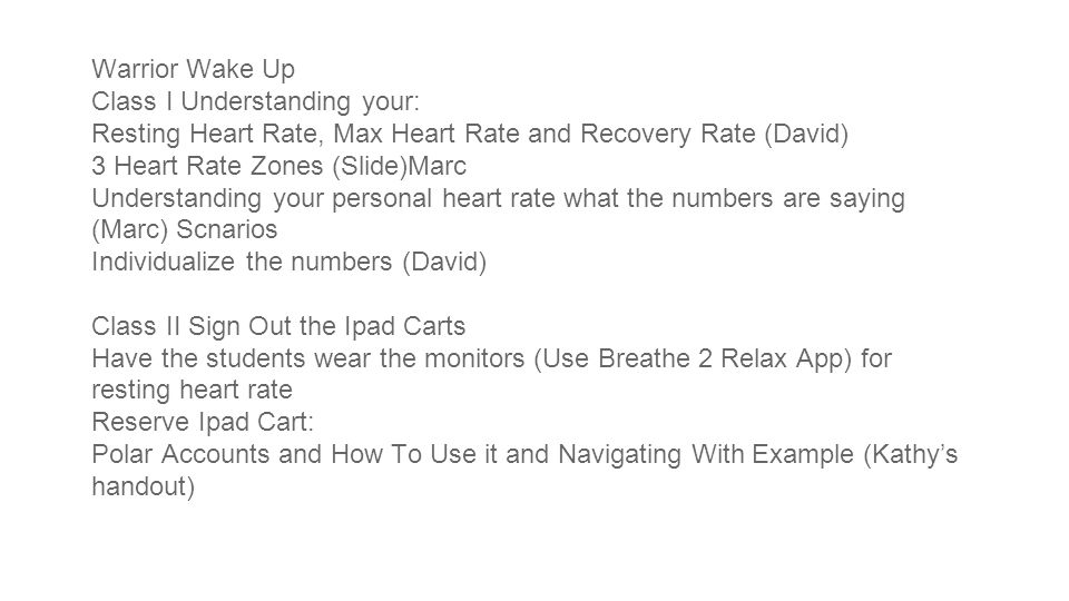 Warrior Wake Up Class I Understanding your: Resting Heart Rate, Max Heart Rate and Recovery Rate (David) 3 Heart Rate Zones (Slide)Marc Understanding your personal heart rate what the numbers are saying (Marc) Scnarios Individualize the numbers (David) Class II Sign Out the Ipad Carts Have the students wear the monitors (Use Breathe 2 Relax App) for resting heart rate Reserve Ipad Cart: Polar Accounts and How To Use it and Navigating With Example (Kathy's handout)