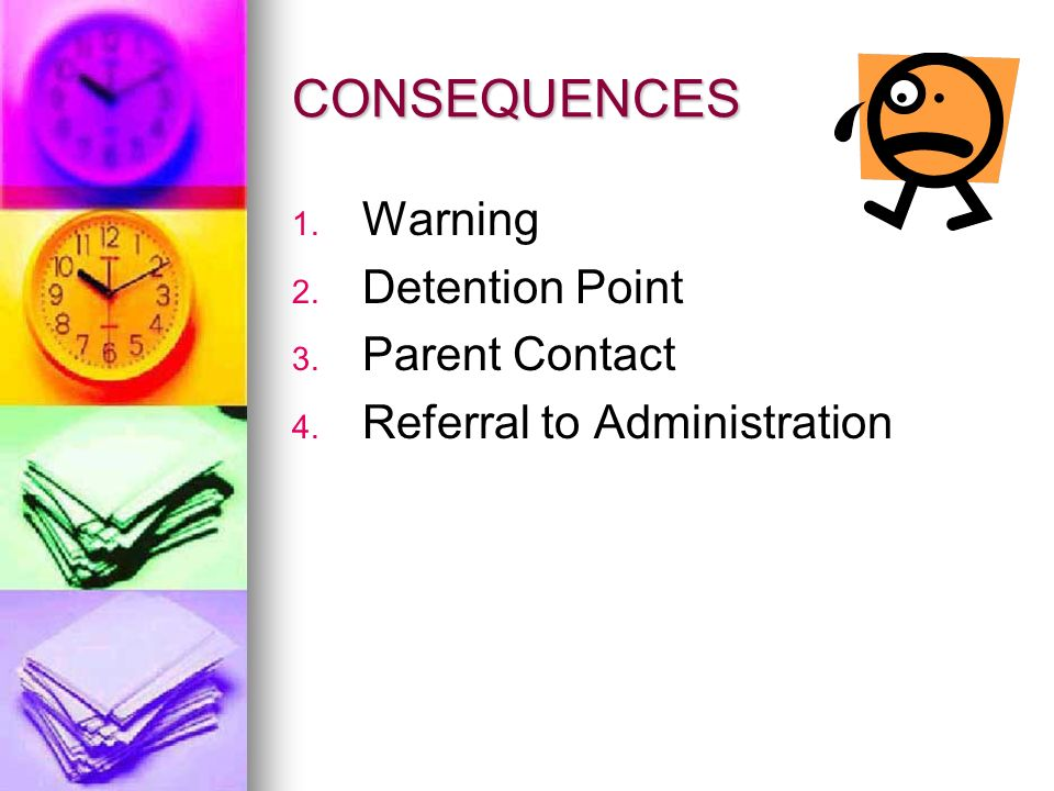 CONSEQUENCES Warning Detention Point 3.