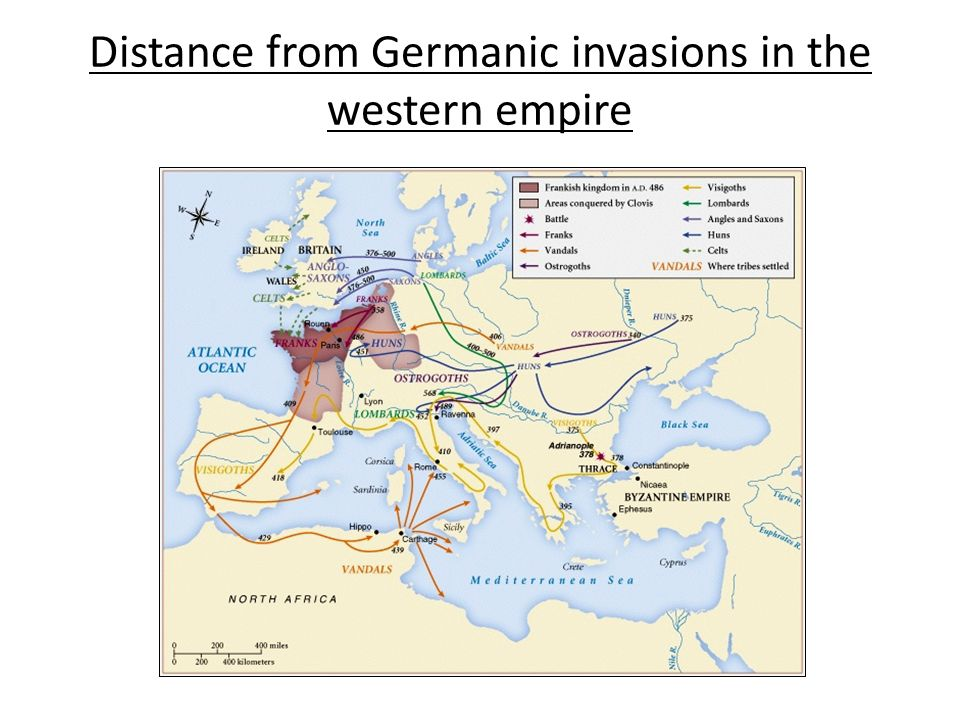 Distance from Germanic invasions in the western empire