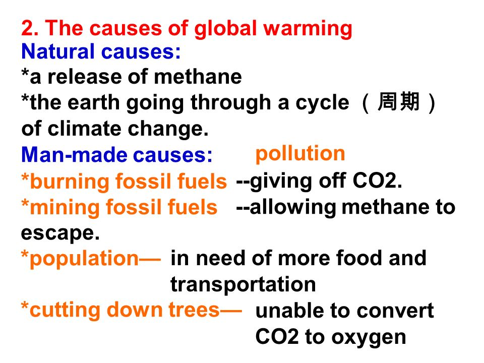 2. The causes of global warming Natural causes: Man-made causes: --giving off CO2.