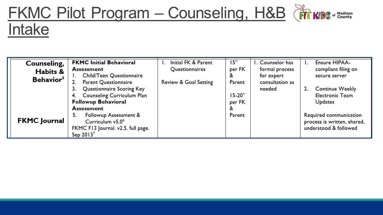 FKMC Pilot Program – Counseling, H&B Intake