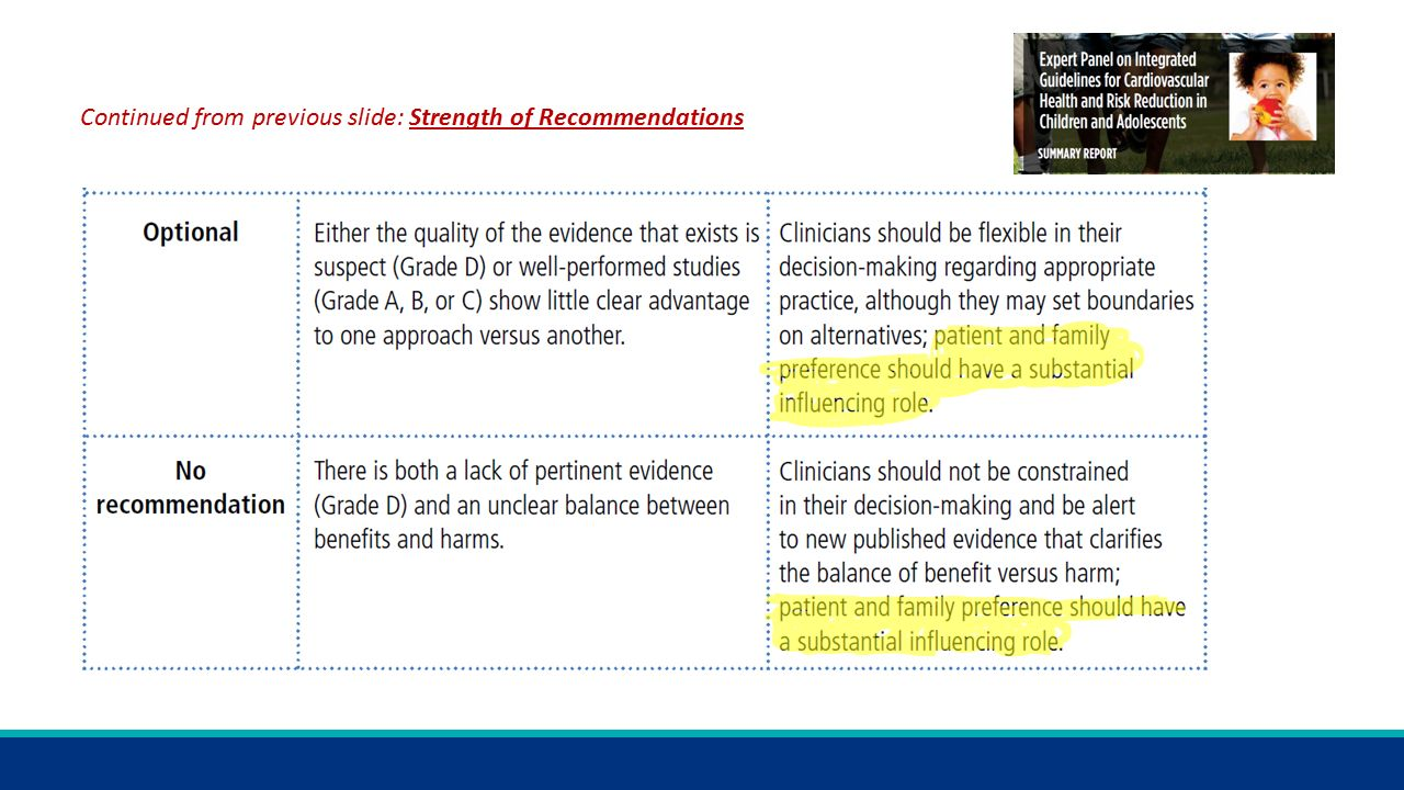 Continued from previous slide: Strength of Recommendations