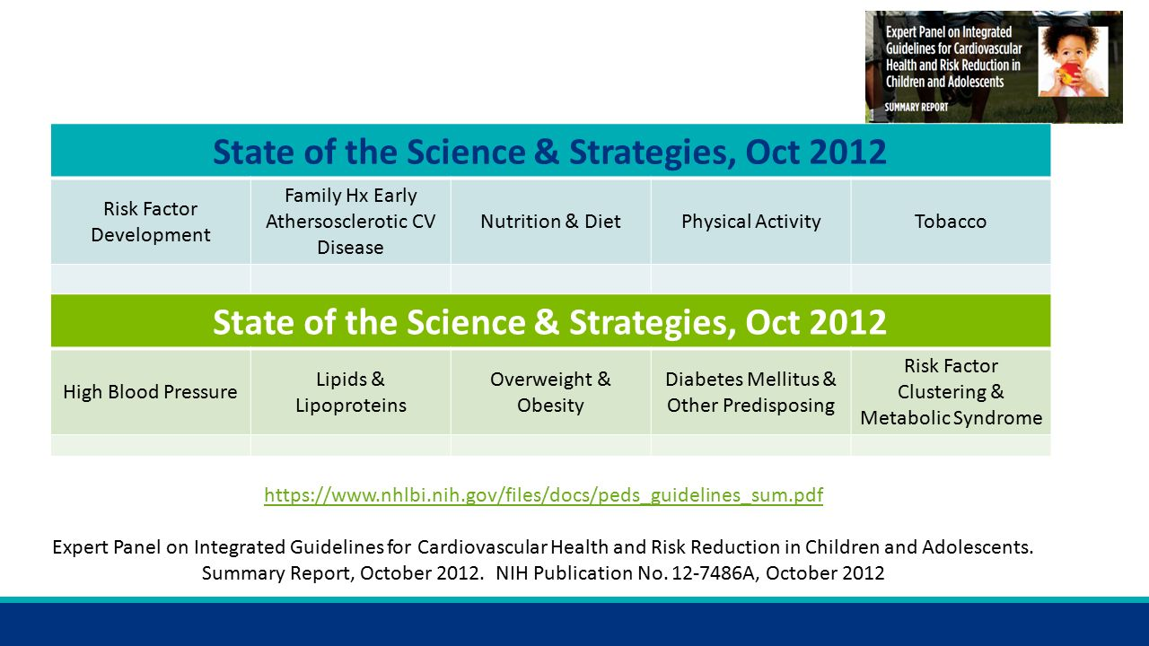 State of the Science & Strategies, Oct 2012 Risk Factor Development Family Hx Early Athersosclerotic CV Disease Nutrition & DietPhysical ActivityTobacco State of the Science & Strategies, Oct 2012 High Blood Pressure Lipids & Lipoproteins Overweight & Obesity Diabetes Mellitus & Other Predisposing Risk Factor Clustering & Metabolic Syndrome     Expert Panel on Integrated Guidelines for Cardiovascular Health and Risk Reduction in Children and Adolescents.