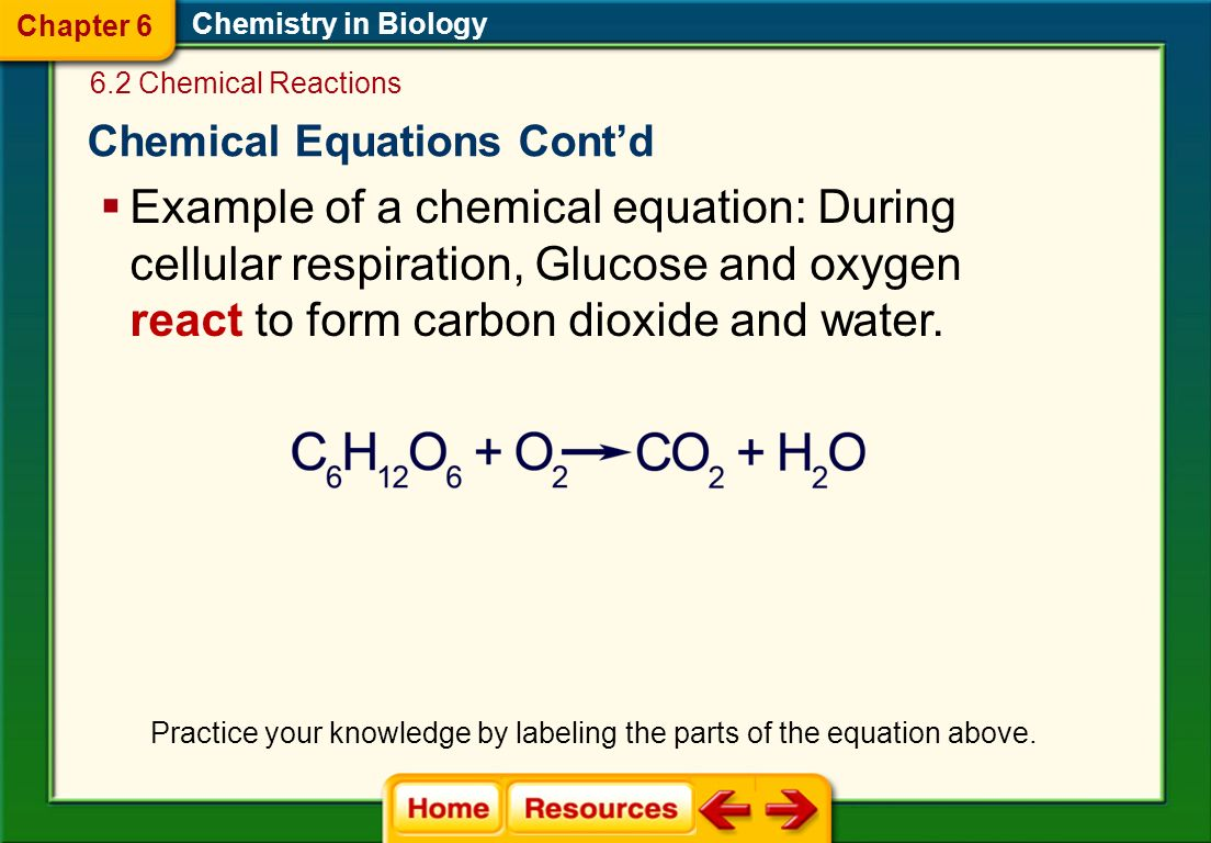 Chemical Equations Chemistry in Biology  Chemical formulas describe the substances in the reaction and arrows indicate the process of change.