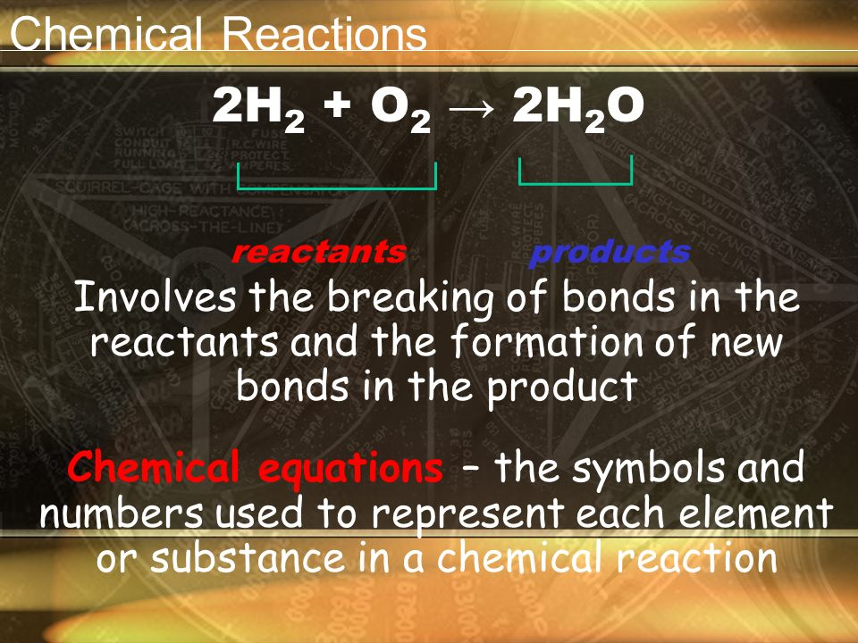 Chemical Reactions A process that changes one set of chemicals to another set of chemicals Reactants – elements or compounds that enter into a chemical reaction Products – elements or compounds produced by a chemical reaction