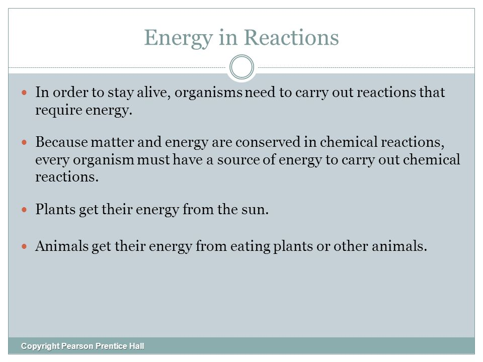 Energy in Reactions Copyright Pearson Prentice Hall In order to stay alive, organisms need to carry out reactions that require energy.