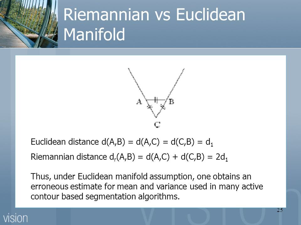 25 Riemannian vs Euclidean Manifold Euclidean distance d(A,B) = d(A,C) = d(C,B) = d 1 Riemannian distance d r (A,B) = d(A,C) + d(C,B) = 2d 1 Thus, under Euclidean manifold assumption, one obtains an erroneous estimate for mean and variance used in many active contour based segmentation algorithms.