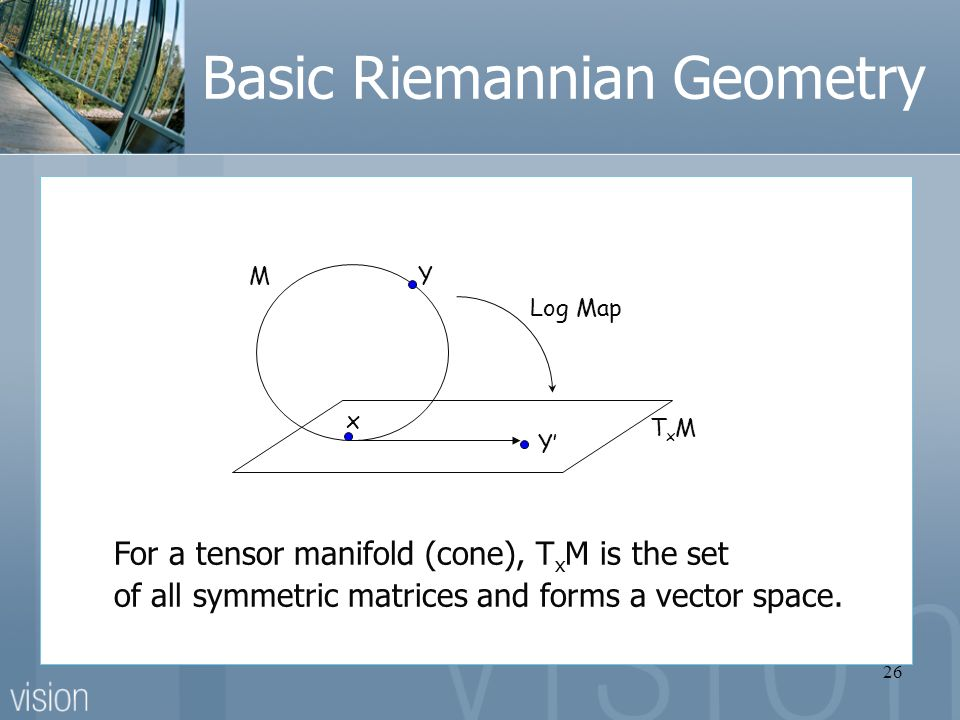 26 Basic Riemannian Geometry For a tensor manifold (cone), T x M is the set of all symmetric matrices and forms a vector space.