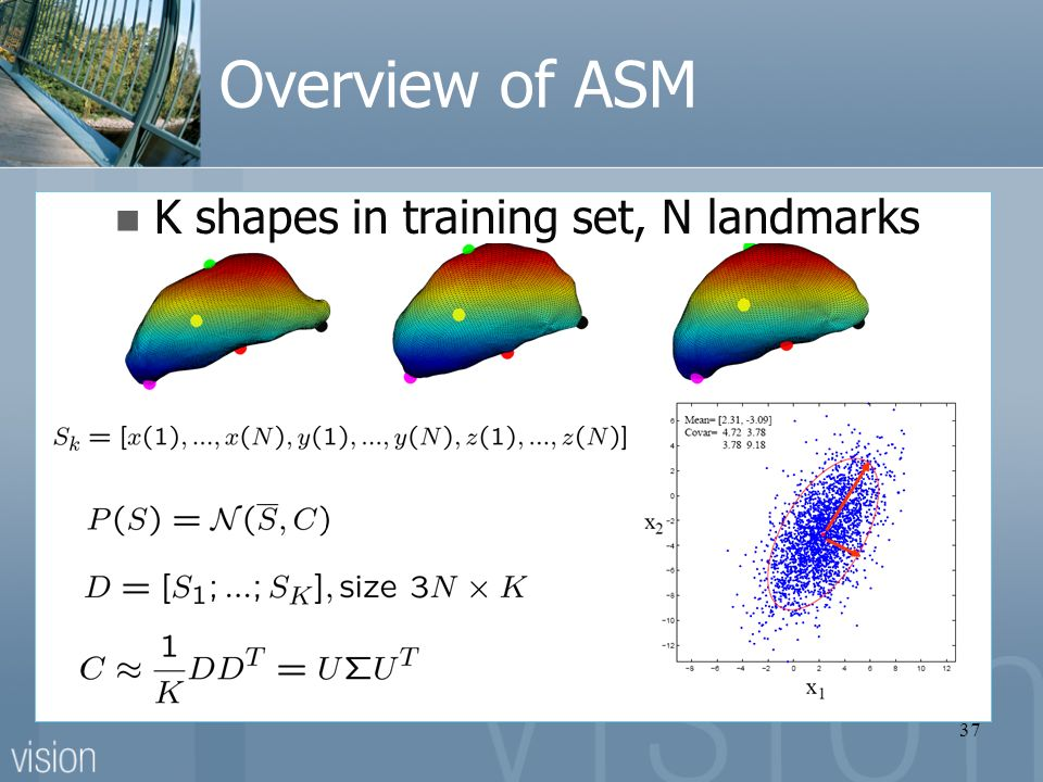 37 Overview of ASM K shapes in training set, N landmarks