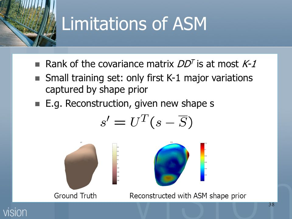 38 Limitations of ASM Rank of the covariance matrix DD T is at most K-1 Small training set: only first K-1 major variations captured by shape prior E.g.