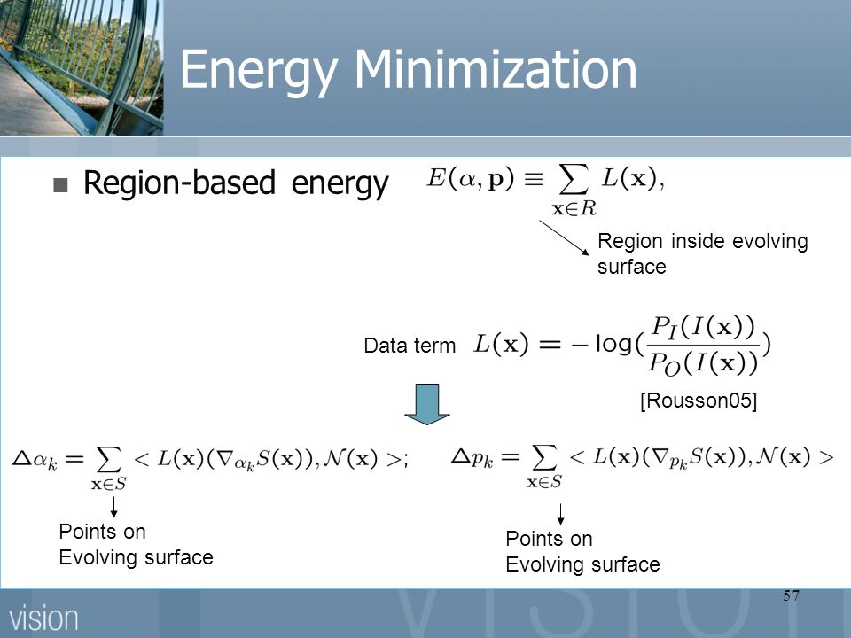 57 Energy Minimization Region-based energy Data term Region inside evolving surface [Rousson05] Points on Evolving surface Points on Evolving surface