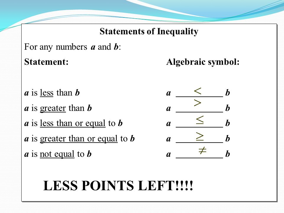 Statements Of Inequality For Any Numbers A And B Statement
