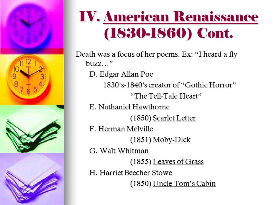 """american renaissance literature American renaissance as """"romantic period in american literature"""" in literary scholarship, the decades before the american civil war are also identified as """"the romantic period in american literature"""" american romanticism occurred about a generation after the romantic movement in european literature."""
