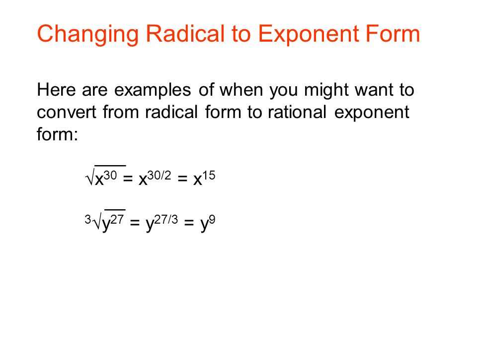 Welcome to Unit 5 Our Topics for this week Radical Exponents ...